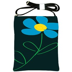 Whimsical Blue Flower Green Sexy Shoulder Sling Bags by Mariart