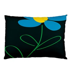Whimsical Blue Flower Green Sexy Pillow Case (two Sides) by Mariart