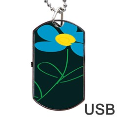 Whimsical Blue Flower Green Sexy Dog Tag Usb Flash (one Side) by Mariart