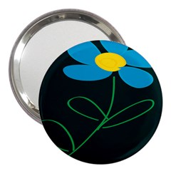 Whimsical Blue Flower Green Sexy 3  Handbag Mirrors by Mariart