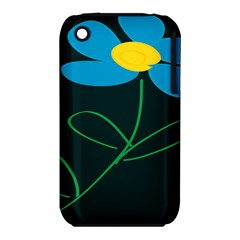 Whimsical Blue Flower Green Sexy Iphone 3s/3gs by Mariart