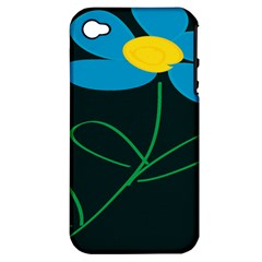 Whimsical Blue Flower Green Sexy Apple Iphone 4/4s Hardshell Case (pc+silicone) by Mariart