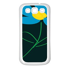 Whimsical Blue Flower Green Sexy Samsung Galaxy S3 Back Case (white) by Mariart