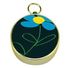 Whimsical Blue Flower Green Sexy Gold Compasses by Mariart