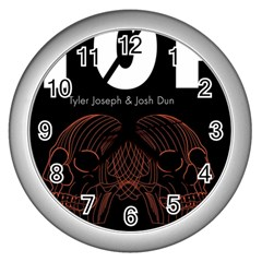 Twenty One Pilots Event Poster Wall Clocks (silver)  by Onesevenart
