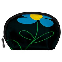 Whimsical Blue Flower Green Sexy Accessory Pouches (large)  by Mariart