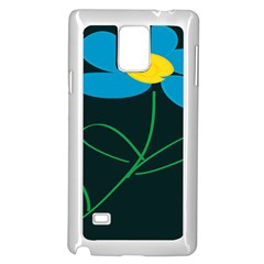 Whimsical Blue Flower Green Sexy Samsung Galaxy Note 4 Case (white) by Mariart