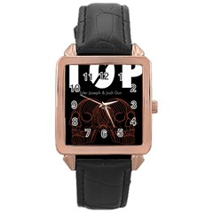 Twenty One Pilots Event Poster Rose Gold Leather Watch  by Onesevenart