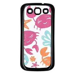 Animals Sea Flower Tropical Crab Samsung Galaxy S3 Back Case (black) by Mariart