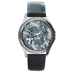 Abstract Floral Pattern Grey Round Metal Watch by Mariart
