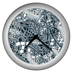 Abstract Floral Pattern Grey Wall Clocks (silver)  by Mariart