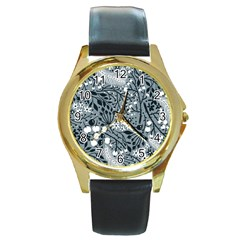 Abstract Floral Pattern Grey Round Gold Metal Watch by Mariart