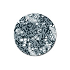 Abstract Floral Pattern Grey Magnet 3  (round) by Mariart