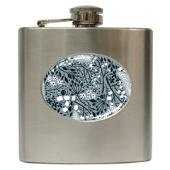 Abstract Floral Pattern Grey Hip Flask (6 Oz)