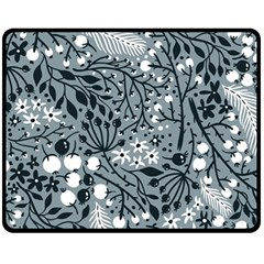 Abstract Floral Pattern Grey Fleece Blanket (medium)  by Mariart