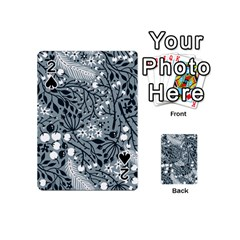 Abstract Floral Pattern Grey Playing Cards 54 (mini)  by Mariart