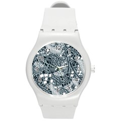 Abstract Floral Pattern Grey Round Plastic Sport Watch (m) by Mariart