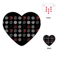 Digital Art Dark Pattern Abstract Orange Black White Twenty One Pilots Playing Cards (heart)  by Onesevenart