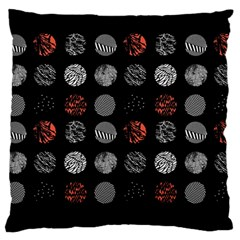 Digital Art Dark Pattern Abstract Orange Black White Twenty One Pilots Large Cushion Case (two Sides) by Onesevenart