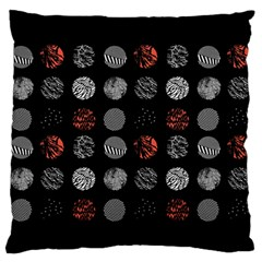 Digital Art Dark Pattern Abstract Orange Black White Twenty One Pilots Large Flano Cushion Case (two Sides) by Onesevenart