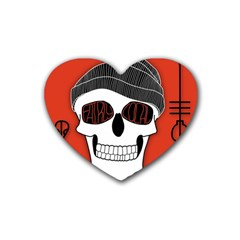 Poster Twenty One Pilots Skull Rubber Coaster (heart)  by Onesevenart