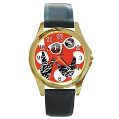 Twenty One Pilots Poster Contest Entry Round Gold Metal Watch by Onesevenart