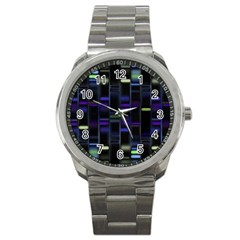Biostatistics Line Blue Sport Metal Watch by Mariart