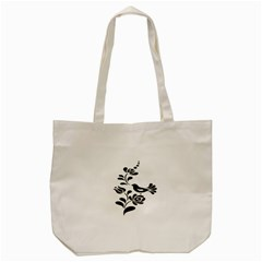 Birds Flower Rose Black Animals Tote Bag (cream) by Mariart