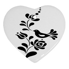 Birds Flower Rose Black Animals Heart Ornament (two Sides) by Mariart