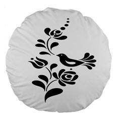 Birds Flower Rose Black Animals Large 18  Premium Flano Round Cushions by Mariart