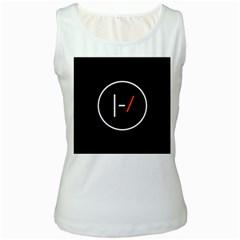 Twenty One Pilots Band Logo Women s White Tank Top by Onesevenart