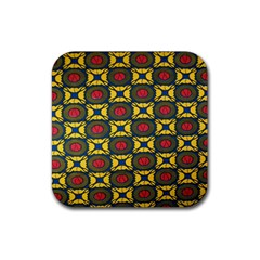 African Textiles Patterns Rubber Coaster (square)  by Mariart