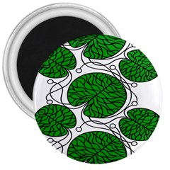 Bottna Fabric Leaf Green 3  Magnets by Mariart