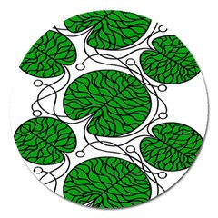 Bottna Fabric Leaf Green Magnet 5  (round) by Mariart