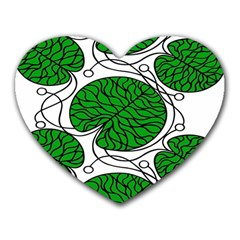 Bottna Fabric Leaf Green Heart Mousepads by Mariart
