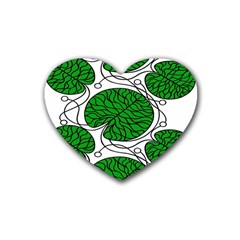 Bottna Fabric Leaf Green Heart Coaster (4 Pack)  by Mariart