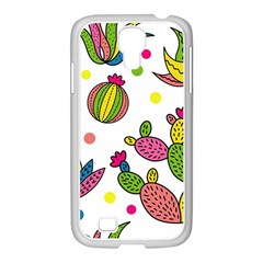 Cactus Seamless Pattern Background Polka Wave Rainbow Samsung Galaxy S4 I9500/ I9505 Case (white) by Mariart