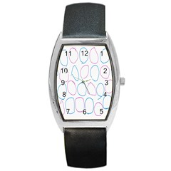 Circles Featured Pink Blue Barrel Style Metal Watch by Mariart