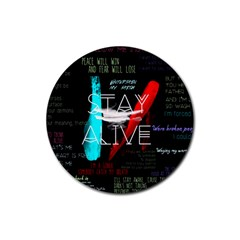 Twenty One Pilots Stay Alive Song Lyrics Quotes Rubber Coaster (round)  by Onesevenart