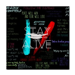 Twenty One Pilots Stay Alive Song Lyrics Quotes Face Towel by Onesevenart