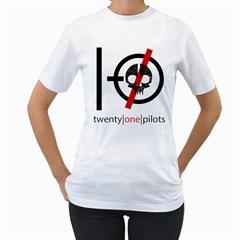 Twenty One Pilots Skull Women s T Shirt (white) (two Sided) by Onesevenart