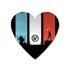 Twenty One 21 Pilots Heart Magnet by Onesevenart