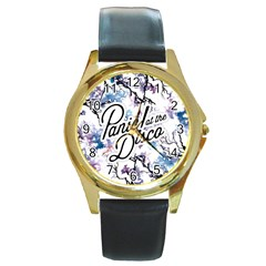 Panic! At The Disco Round Gold Metal Watch by Onesevenart