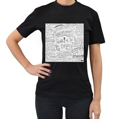 Panic! At The Disco Lyrics Women s T Shirt (black) (two Sided) by Onesevenart