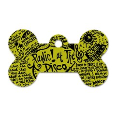 Panic! At The Disco Lyric Quotes Dog Tag Bone (two Sides) by Onesevenart