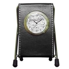 Panic At The Disco Lyrics Pen Holder Desk Clocks by Onesevenart