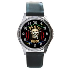Panic At The Disco Poster Round Metal Watch by Onesevenart