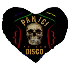 Panic At The Disco Poster Large 19  Premium Flano Heart Shape Cushions by Onesevenart