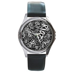 Panic At The Disco Lyric Quotes Retina Ready Round Metal Watch by Onesevenart