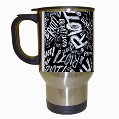 Panic At The Disco Lyric Quotes Retina Ready Travel Mugs (white) by Onesevenart